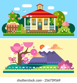 Flat spring and summer Spring and summer landscapes. Garden with apple and pear trees, house with red roof  and terrace, flowers. Japan, cherry blossoms, Mount Fuji, field. Vector flat illustrations