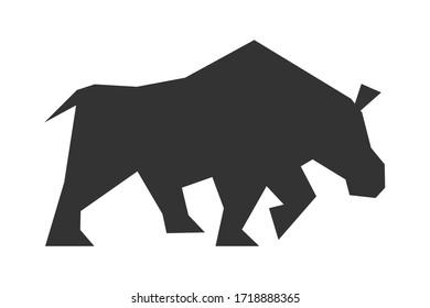 flat stock rhino logo vector design