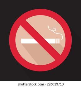 Flat stop smoking sign. Vector illustration.