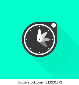 Flat stopwatch. Black timer symbol, with long shadow, on green background. Use for card, poster, brochure, banner, web. Easy to edit. Vector illustration - EPS10.