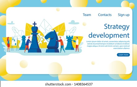 Flat Strategy Development Lettering Cartoon. Successful Team Leadership Leads to Increase in Performance Indicators. Collaborators Men and Women Play Chess and Think through Moves Before.