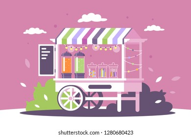 Flat street shop sweets stall with menu and goodies. Concept market with fast food, dessert products, lemonade. Vector illustration.
