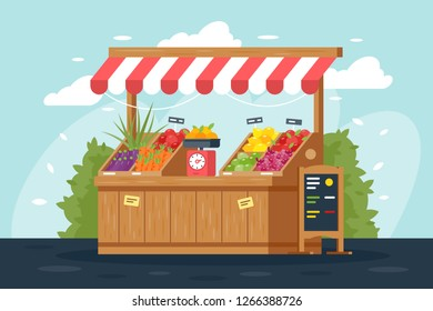 Flat street vegetable and fruit stall with menu, green, lemon, carrot, apple. Concept shop with fresh food, bulk products. Vector illustration.