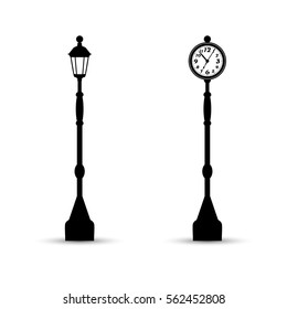 Flat streetlight and clock silhouettes. Lamppost and watch icons.