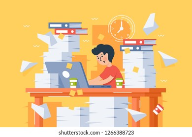 Flat stressful busy young man workload at work. Concept blockage tired employee, workplace with paper. Vector illustration.