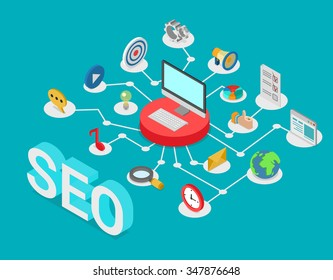 Flat style 3d isometry isometric SEO search engine optimization creative web technology concept. Computer on pedestal connected to SEO-related icons: message music social media post promotion target.