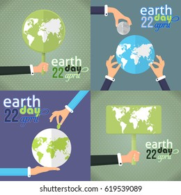 Flat Style April 22, Earth Day Design. Hands Hold Signboard or World Icon Illustration Set