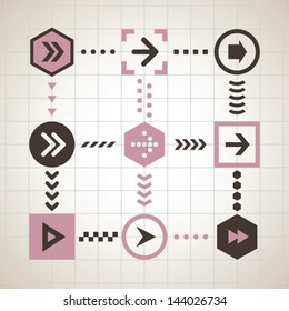 Flat style arrows vector set for mobile apps, web design, and UI.