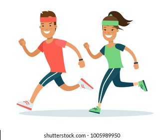 Flat style Athlete running runner characters vector illustration. Young man and woman jogging marathon race. Individual sports, competition concept.
