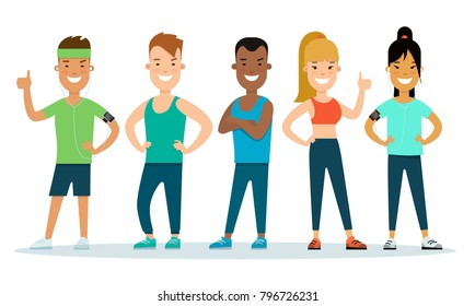 Flat style Athlete stranding workout gym characters vector illustration. Group of fitness multinational young man woman in exercise clothes. Individual sports concept