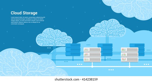 flat style banner, cloud storage, cloud server concept