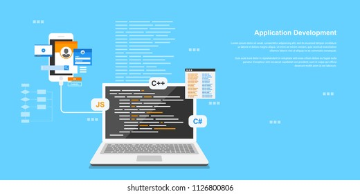 Flat style banner design, coding, programming, application development concept.