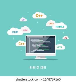 Flat style banner design, coding, programming, application development concept.