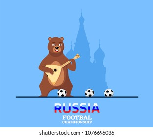 Flat style banner for football championship in Russia. Funny russian bear play balalaika in front of St Basil's Church. Flat style illustration.