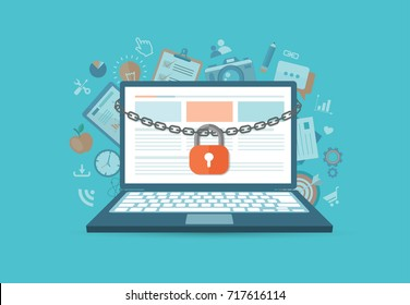 Flat style banners set. Security concept with lock and chain around laptop. Search engine concept with a magnifying glass and a laptop. eps10