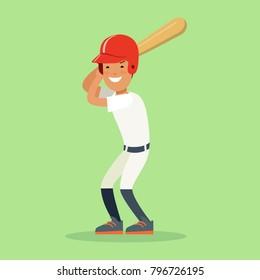 Flat style baseball batter hitter vector character collection. Athlete player sportsmen man with baseball bat. Team sports high detail illustration.