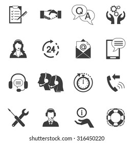 Flat style black and white icons set collection of fast support service and remote technical assistance isolated vector illustration