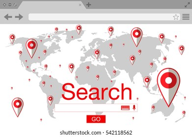 Flat style browser search engine. World map with pins. Vector stock illustration
