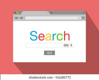 Flat style browser window on red background. Search engine. Vector stock illustration