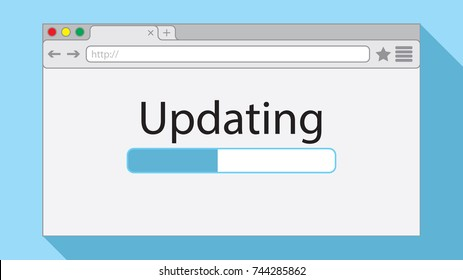 Flat style browser window on light blue background. Updating illustration.