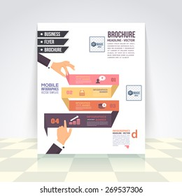 Flat Style Business Infographics Template, Vector Design Flyer, Numbered Banner, Icon Elements, Corporate Brochure