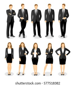 Flat style business people, businessmen and women and office workers