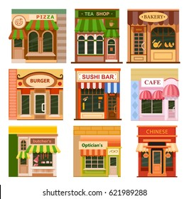 Flat style cafe restaurant shop store little tiny fancy icon set. Chinese, sushi bar, bakery, tea shop, pizza, cafe, optician's, burger, butcher's