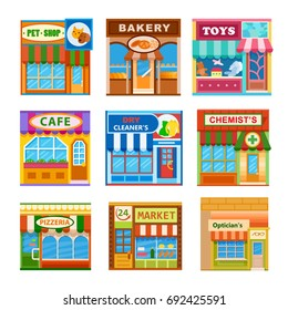 Flat style cafe restaurant shop store little tiny fancy icon set. Pet shop, toys, bakery, dry cleaners, pizzeria, cafe, optician's, market, chemists