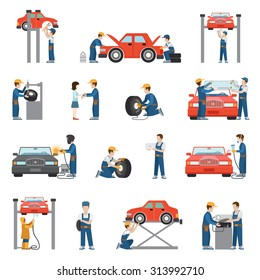 Flat style car repair service tire fitting diagnostics vehicle painting welding lift window replacement spare parts worker stuff at work icon pack set. Transport business services objects collection.