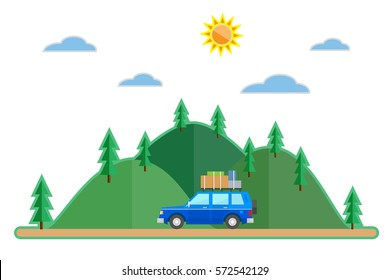 Flat style car summer trip background. Travel SUV and sun,clouds, mountains with trees.  Vector illustration
