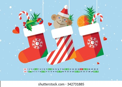 Flat style cartoon New Year calendar Christmas sock with candies, gifts and cute monkey. December and January. Vector illustration.