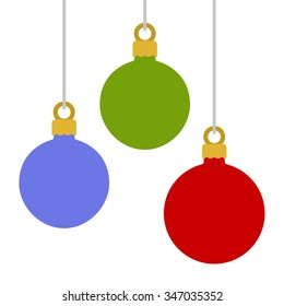 Flat Style Christmas Balls on White Background. Vector