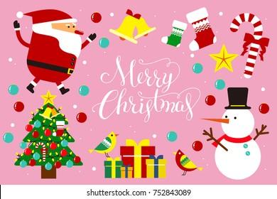 Flat style Christmas icon design, with Christmas Santa Claus ,Snowman and Christmas tree.