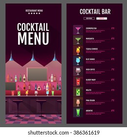 Flat style cocktail menu design with bar interior