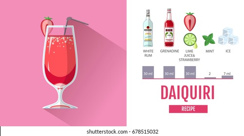 Flat style cocktail menu design. Cocktail daiquiri recipe