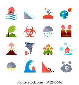 Flat style colored icons set of different natural disasters and civilization negative effects isolated vector illustration