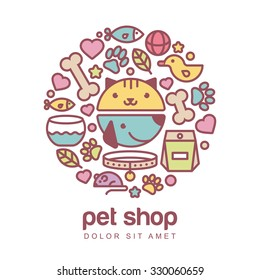 Flat style colorful illustration of funny muzzle of cat and dog. Goods for animals, vector icons set. Abstract design concept for pet shop or veterinary.