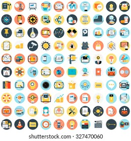Flat style, colorful, vector icon set about education, business and creativity for info graphics, websites, mobile and print media.