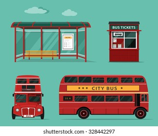 Flat style concept of public transport. Set of city bus with front and side view, bus stop, street ticket office. Isolated vector illustration