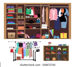 Flat style concept of wardrobe for women. Stylish closet with fashion clothes, shoes and bags. Set of hangers with clothes isolated vector illustration