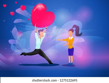 Flat style concept of young caucasian man falling in love holding big heart above his head and bringing it to his women. St Valentines day romantic cartoon composition