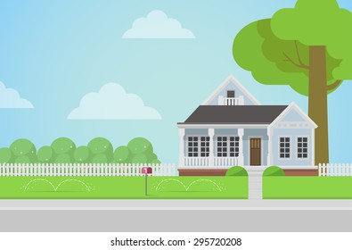 Flat style countryside family house with backyard lawn concept. Architecture design elements. Build your world collection.