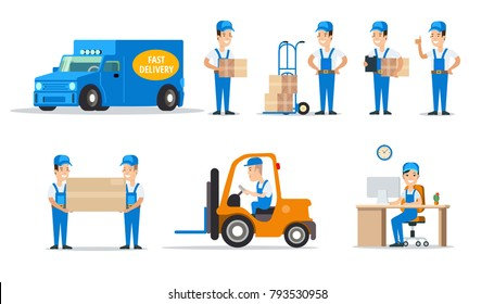 Flat style couriers holding loading or carrying cardboard boxes, service cars loader vector illustration set. Moving and delivery company concept.