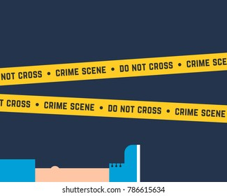 flat style crime scene with corpse. cartoon simple trend modern graphic design isolated on background. concept of do not cross yellow tape at crime scene place or arrest the killers or suicide body