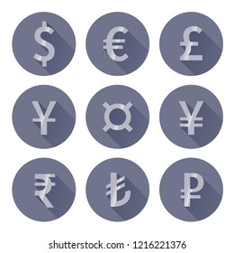 Flat style currency sign set. Vector euro, dollar, pound, yen, yuan, rupee, lira and rouble signes isolated on white background