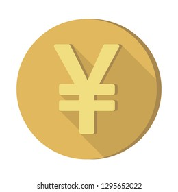 Flat style Currency symbols icon with shadow : Japanese Yen JPY coin vector illustration