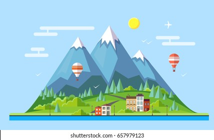 Flat style design of countryside mountains landscape.