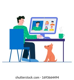 Flat Style Design. Freelancer Working from Home Telecommuting in  Video Chat Video Conference Vector Illustration