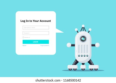 Flat style design for login web page. Robot icon with speech bubble for login form.