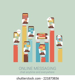 Flat style design vector illustration online messaging mobile app concept. Collage of hands holding touch phones with message im chat dialogue application infographics big flat conceptual collection.